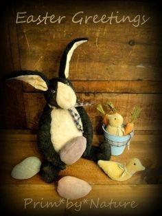 Primitive Rabbit Doll Basket of Carrots Chicks and Easter Eggs Folk Art Doll