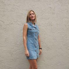90's Denim Mini Dress Chambray Blue Button Front Clueless