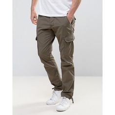 Esprit Cargo Trouser ($58) ❤ liked on Polyvore featuring men's fashion, men's clothing, men's pants, men's casual pants, green, mens slim cargo pants, mens cargo pants, mens cuffed cargo pants, mens green pants and mens green chino pants