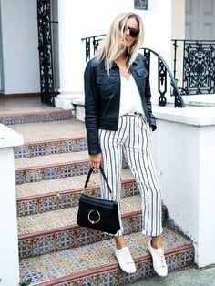 Leather jacket + sleeveless sweater + pinstripe pants + sneakers.