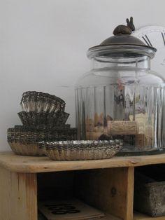 Beautiful antique tart tins and cookie jar
