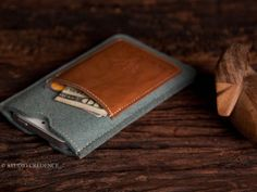 Leather iPhone 5 Sleek Wallet Case Cover in AquaMarine by StudioCredence.