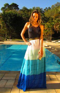 #fashion #fashionista Vanessa nero fantasia Look saia longa para festa | Decor e Salto Alto
