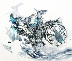 Abstract watercolor animal painting by artist Art Jongkie (Luqman Reza) from Indonesia