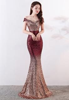 Off Shoulder Gradient Claret Sequin Evening Gown  3784d37bc4eb