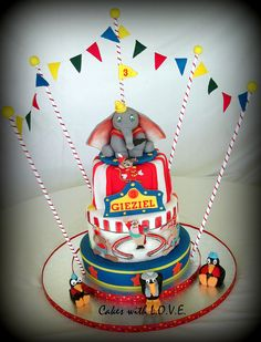 Disney Dumbo Circus Birthday Cake - Disney Every Day Elephant Birthday Cakes, Elephant Cakes, Flying Elephant, Carnival Birthday Parties, Circus Birthday, Circus Party, 3rd Birthday, Circus Wedding, Circus Theme