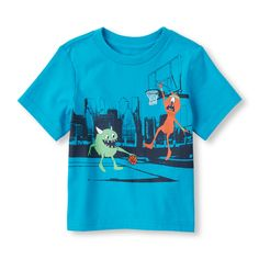 Toddler Boys Short Sleeve Alien Hoops Graphic Tee