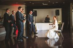 "This groom surprised his bride with a choreographed dance to Justin Timberlake's ""Suit and Tie"". The Willinghams Photography. Weddings at Curtis Ballroom at The Landmark, Greenwood Village, Colorado."
