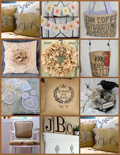 Burlap all kinds of ways. The wreath is great.
