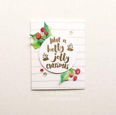 Holly Jolly Card by @JulieEbersole + a You Tube video. #EllenHutsonLLC #EssentialsbyEllen #HollyJolly #PoinsettiaandPine