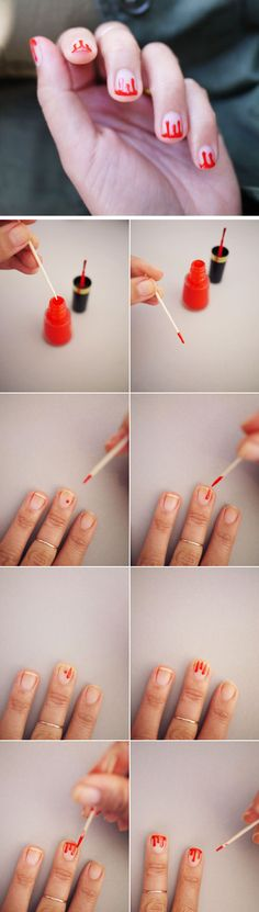 Drippy Blood French Manicure - Halloween nails i should do this as like honey for my winnie the pooh costume!! @Morgan Creek