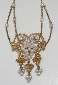 Art Nouveau Baroque Seed Pearl Grape Vine Necklace Set In Gold