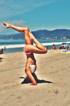 Sirsasana - Headstand, yoga on the beach, flexibility, exercise, California.
