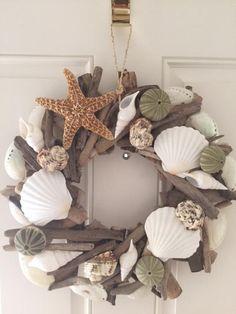 Driftwood Wreath, Seashell Wreath, Driftwood Crafts, Seashell Crafts, Coastal Wreath, Coastal Decor, Coastal Cottage, Coastal Living, Nautical Wreath