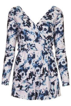 **Printed Crepe Wrap Front Playsuit by Oh My Love - Playsuits & Jumpsuits - Clothing