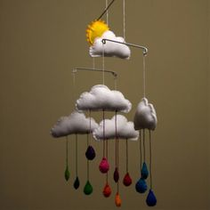 Mobile nuage en feutrine