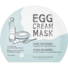 Too Cool For School Egg Cream Mask Pore Tightening ($6) ❤ liked on Polyvore featuring beauty products, skincare, face care, paraben free skin care, moisturizing mask and hydrating mask