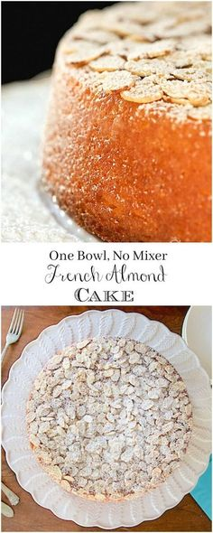 This French Almond Cake is incredibly delicious and incredibly easy. One-bowl, n… This French Almond Cake is incredibly delicious and incredibly easy. One-bowl, no-mixer, just-a-few-minutes-to-throw together! Desserts Français, Beaux Desserts, Delicious Desserts, Dessert Recipes, Yummy Food, Dessert Ideas, Cake Ideas, Picnic Recipes, Health Desserts