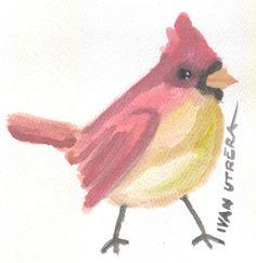 cardenal en acuarela