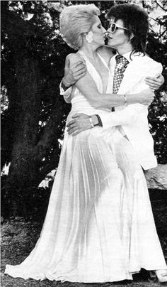 David Bowie and his ex-wife Angie 70s. Angie reminds me of Lady Gaga in this photo.