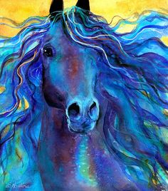 Svetlana Novikova. Wild horse. Blue and yellow.