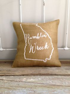 Burlap Pillow  Ramblin' Wreck Georgia Tech by TwoPeachesDesign, $32.00