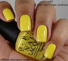 OPI:  ★ I Just Can't Cope-acabana ★  OPI Brazil Collection Spring / Summer  2014. Yellow creme nail polish.