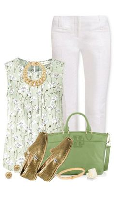I would wear different shoes. But I love the springy colors and shirt pattern.