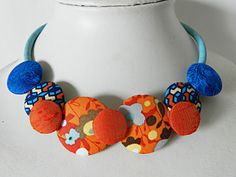 Necklace, beads of orange and blue fabrics on natural cork cord de la boutique Mauveetcapucine sur Etsy