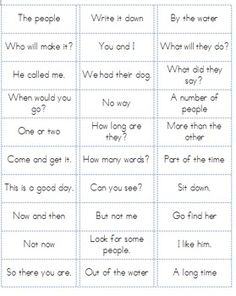 Print these Fry Word Phrases for all 600 words (lists 1-6) on sticker labels and adhere to flashcards. Make matching games, ZAP games, use with your own board games, or just use as flashcards. Fry Word Phrases Lists 1-6 Ready to Print on Sticker Labels!