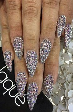Rhinestone glam glitz stiletto nails @laquenailbar