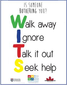 WITS poster-lots of resources and free printables for peer victimization prevention!