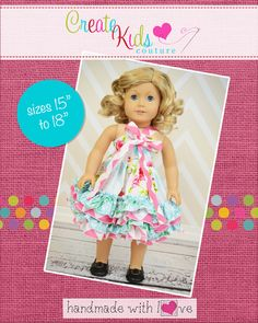 Create Kids Couture - Keeley's Ruffled Bow Dress Doll Size PDF Pattern, $5.00 (http://createkidscouture.com/keeleys-dolls.html/)