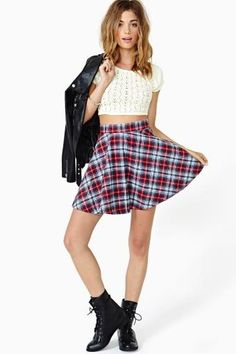 Don't like the top, but plaid skater skirts are lovely!