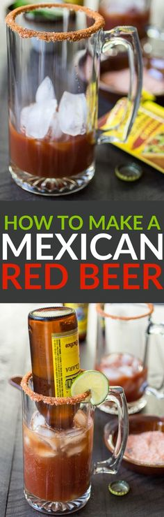 Micheladas are a delightfully simple beer cocktail known for their, shall we say, restorative properties. This spicy Mexican-style Red Beer will have you on your feet again in no time! Non Alcoholic Drinks, Bar Drinks, Cocktail Drinks, Spicy Drinks, Beverages, Beer Recipes, Alcohol Recipes, Mexican Food Recipes, Drink Recipes