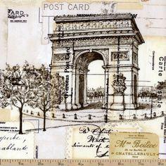 I Dream Of Paris Post Card Art Cotton Fabric - Cream by Beverlys.com