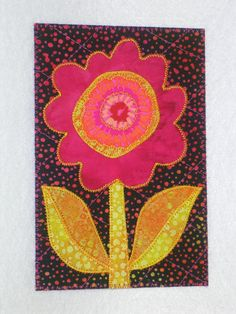 FLOWER WHIMSY Art Quilt Fabric Appliqued  4 x 6 art quilt