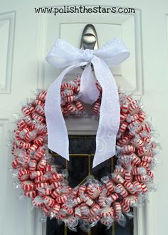 Peppermint Wreath, could be done for other holidays with other candies