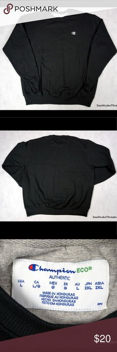 """Champion ECO Crew Sweatshirt Black Men's Large Champion ECO Crew Sweatshirt - Men's Large. Sweatshirt is in good shape and shows very little wear! Amazing Look that's very popular right now. Very high quality Sweatshirt by Champion as you'd Expect. Measures: Sleeve: 26"""" inches • Chest 25"""" inches • Length: 29"""" inches. 5 Star Feedback and Items Ship in 1 business day or less. Any questions please feel free to ask. Bundle and save 20% on 3+ item orders! Thanks! Champion Shirts Sweatshirts…"""