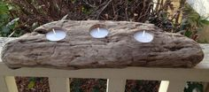 Driftwood Tea Light Candle Holder for Nautical by GlassFloatJunkie