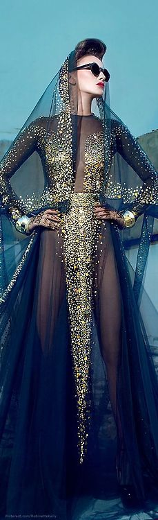 Golden sequins and black gown by Nicolas Jebran | Just a pretty dress