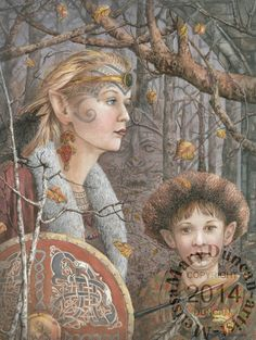 """""""The Legacy,"""" A watercolour painting by Melissa Mary Duncan showing the Celtic Faerie Folk called the Tuatha De Danann"""
