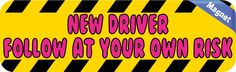 10in x 3in Yellow New Driver Magnet Car Door Magnetic Truck Sign Magnets