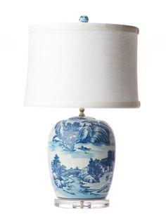 Blue & White Ceramic Chinoiserie Table Lamp