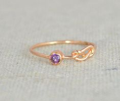 Amethyst Infinit Ring,  Rose Gold Filled Ring , Stackable Rings, Mothers Ring, February Birthstone Ring, Purple Ring, Rose Gold Knot Ring by Alaridesign Gold Knot Ring, Gold Rings, Bff Rings, Amethyst Gem, Amethyst Jewelry, Measure Ring Size, Purple Rings, Mother Rings, Infinity