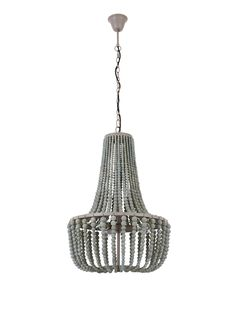 Koralky 3 Light Pendant in French Grey Modern Pendant Light, Pendant Lighting, Beaded Chandelier, French Grey, Wooden Beads, Decorative Bells, Grey And White, Ceiling Lights, Master Bedroom