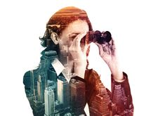 double exposure of businesswoman with binocular and megalopolis