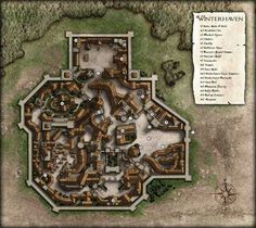 Map of a walled city. (Winterhaven by dasomerville) Fantasy City Map, Fantasy Places, Fantasy World, Fantasy Village, Dungeons And Dragons, Plan Ville, Vila Medieval, Pathfinder Maps, Village Map