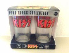 Set of 2 Collectible KISS Pint Glasses Plain Logo on Both Sides 2010