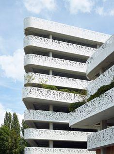 Geometric perforations pattern facade of Belgian hospital car park by Abscis Architecten